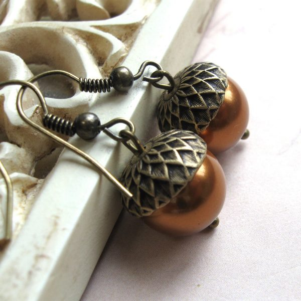 Acorn earrings, nature inspired, copper Swarovski pearls