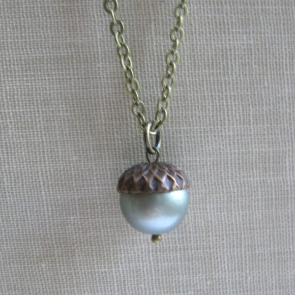 Acorn necklace, light green, nature inspired