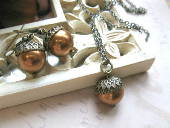 Acorn necklace set, fall jewelry, Swarovski pearls
