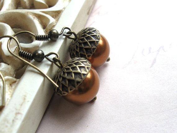 Acorn necklace set, fall jewelry, Swarovski pearls