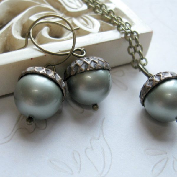 Acorn necklace set, Swarovski pearls, fall jewelry