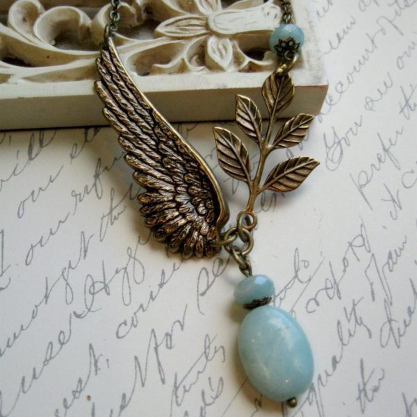 Amazonite necklace, nature inspired, wing pendant