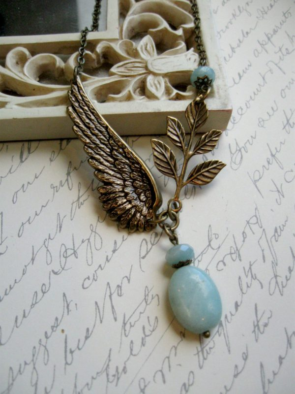Amazonite necklace, nature inspired, wing pendant
