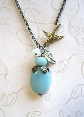 Amazonite pendant necklace, brass bird charm