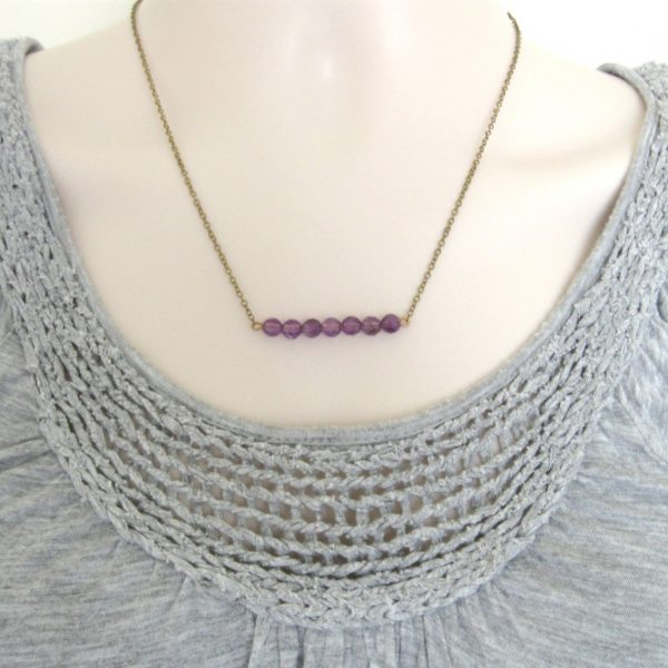 Amethyst necklace, minimalist style, bar necklace