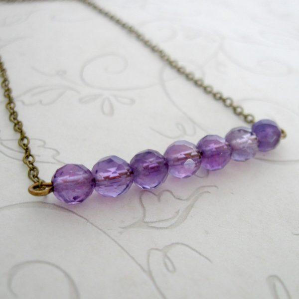 Amethyst necklace, minimalist style, bar necklace