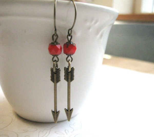 Arrow earrings, brass charms, red glass beads, tribal