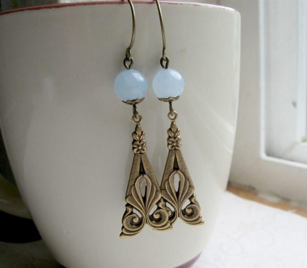 Art deco earrings, blue jade beads