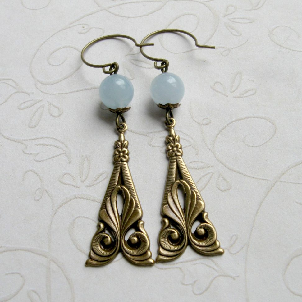 Art deco earrings, blue jade beads