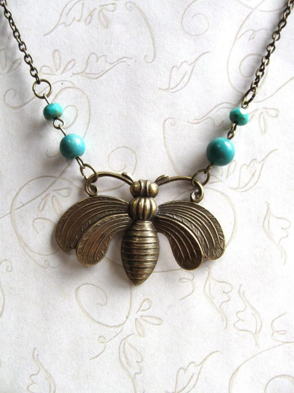 Bee necklace, large pendant, turquoise beads, nature inspired