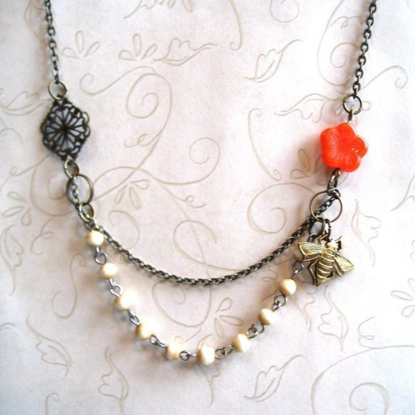 Bee necklace, orange flower bead, nature jewelry