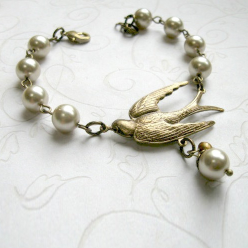 Bird and pearl bracelet, nature inspired