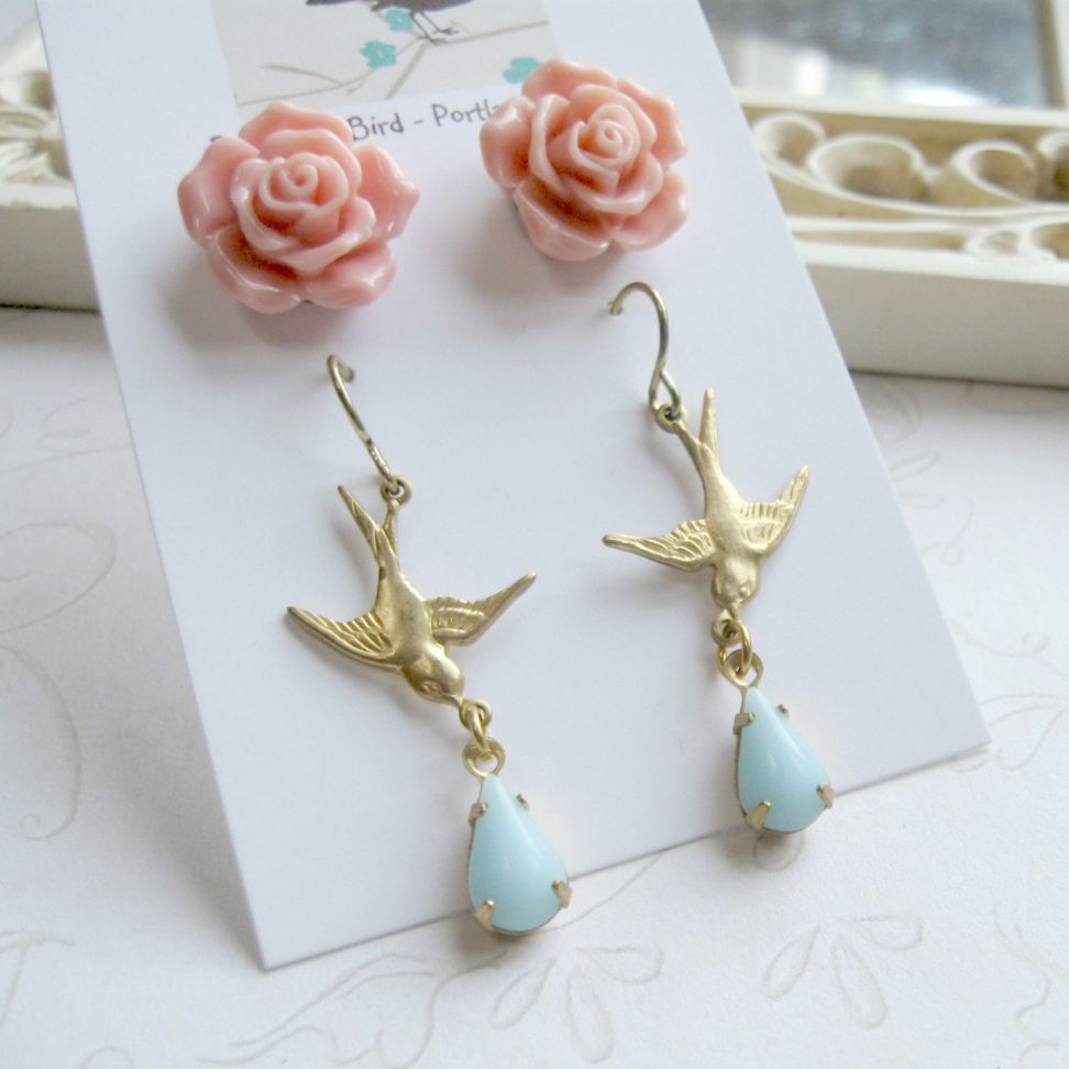 Bird earrings, nature inspired, earring set