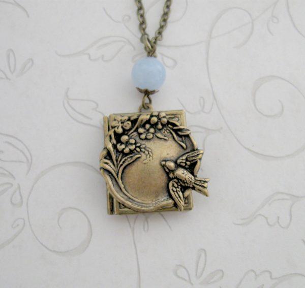 Bird locket necklace, nature inspired, book style locket