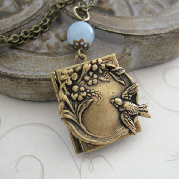 Bird locket necklace, nature inspired, book style locket