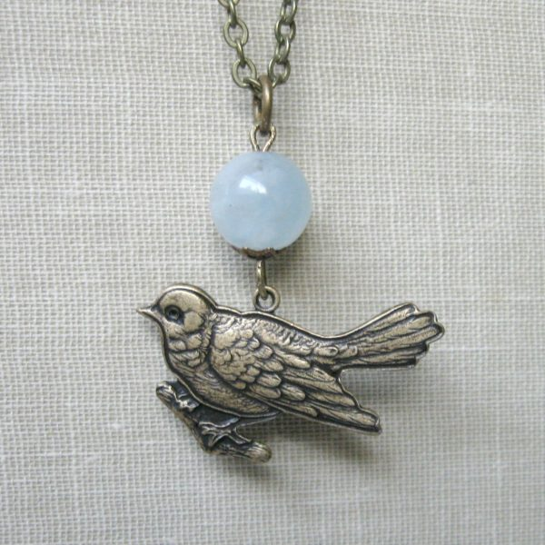 Bird pendant necklace, blue jade bead, nature inspired jewelry