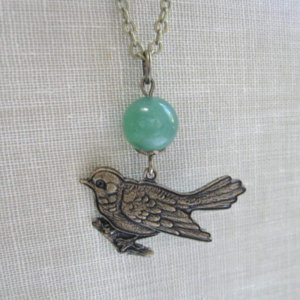Bird pendant necklace, green bead
