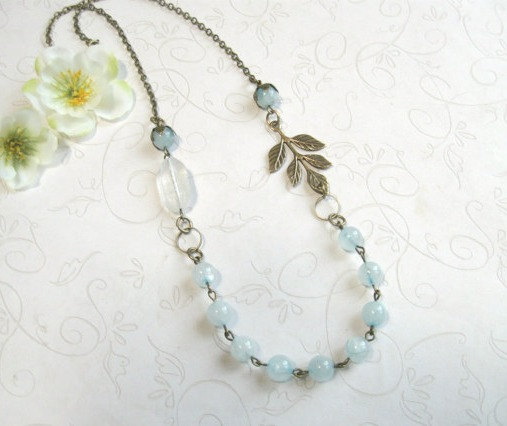 Blue jade necklace, vintage style