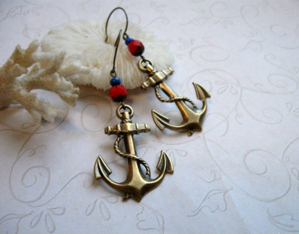 Brass anchor earrings, red glass beads, summer nautical jewelry
