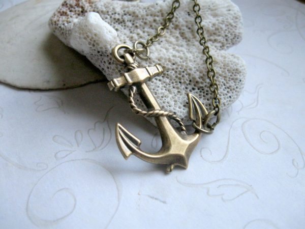 Brass anchor necklace, nautical jewelry