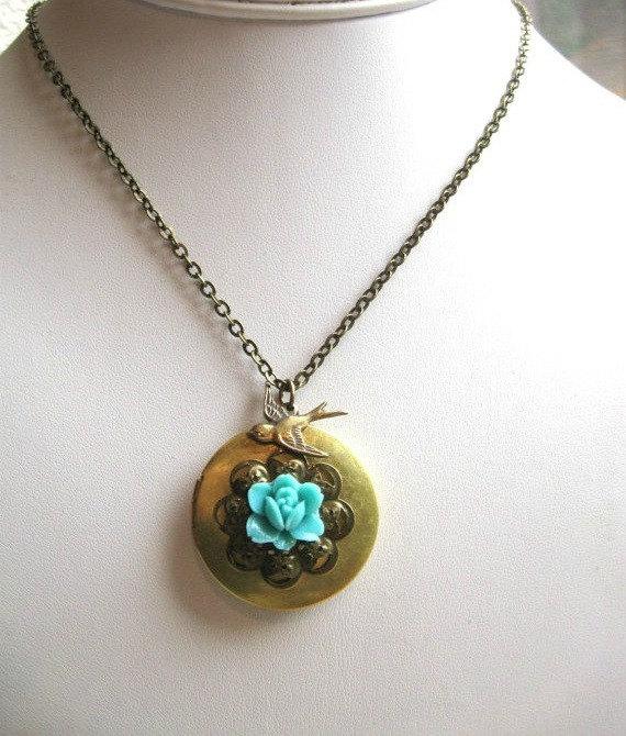 Brass locket necklace, blue flower, vintage inspired