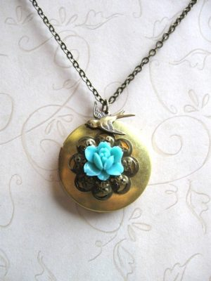 Brass locket necklace, blue flower, vintage inspired