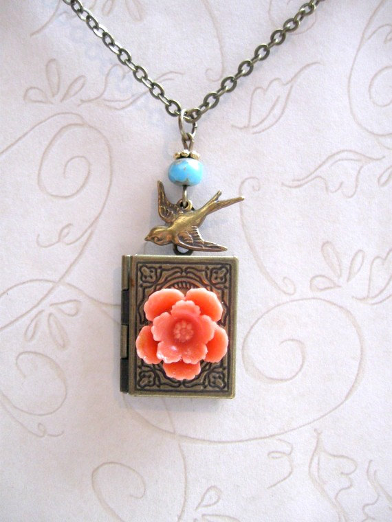 Brass locket necklace, book style, with orange flower