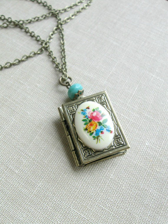 Brass locket necklace, with flower cameo, book locket