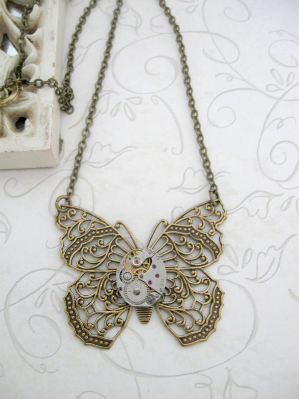 Butterfly pendant necklace, steampunk style, filigree