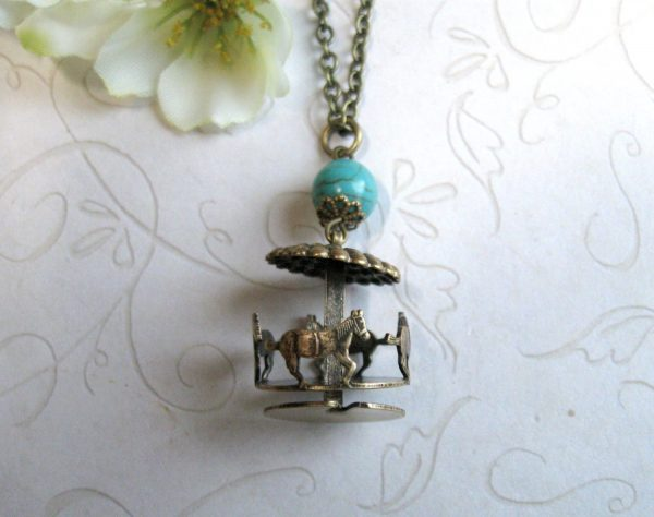 Carousel pendant necklace, brass charm, turquoise bead