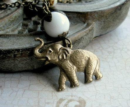Elephant pendant necklace, white bead, wildlife