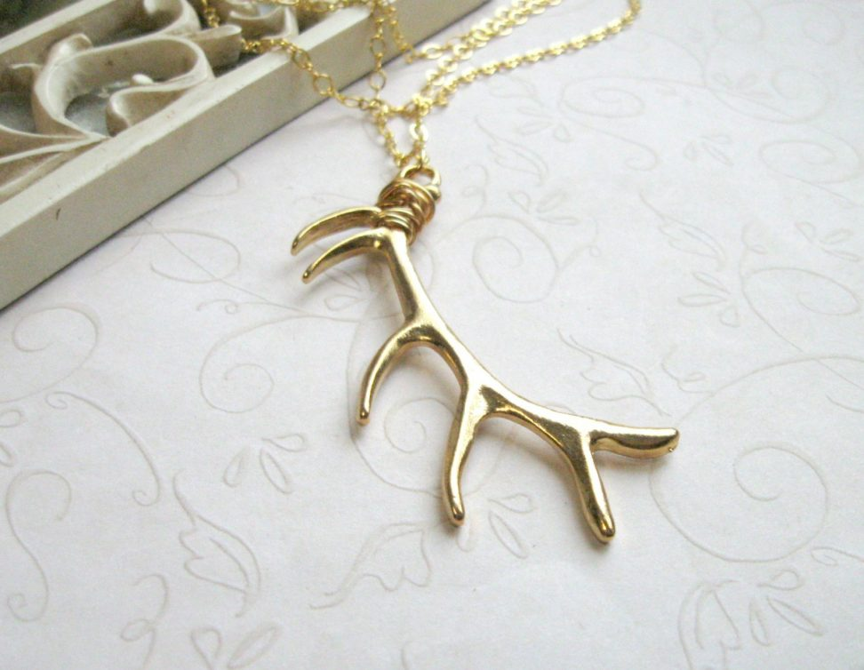 Gold Antler Necklace on Long Gold Chain