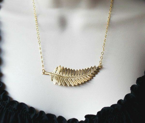 Gold Fern Leaf Necklace