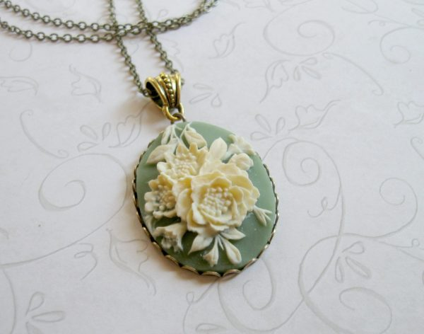 Green cameo necklace, long chain, large pendant