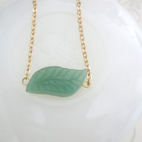 Green leaf necklace, adventurine stone, dainty gold chain