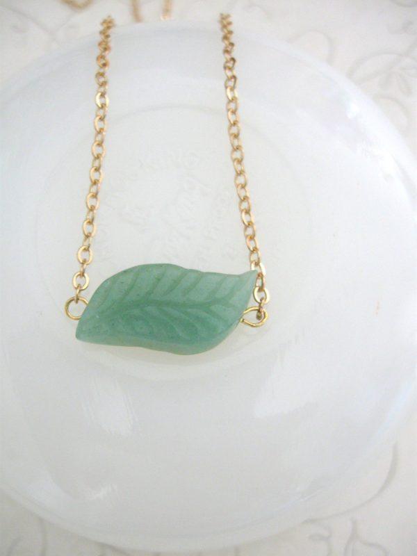 Green leaf necklace, adventurine stone, dainty gold chain