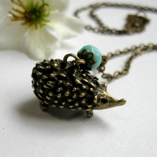 Hedgehog necklace, brass charm - woodland animal, nature jewelry