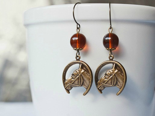 Horse earrings, brass charms, amber glass beads