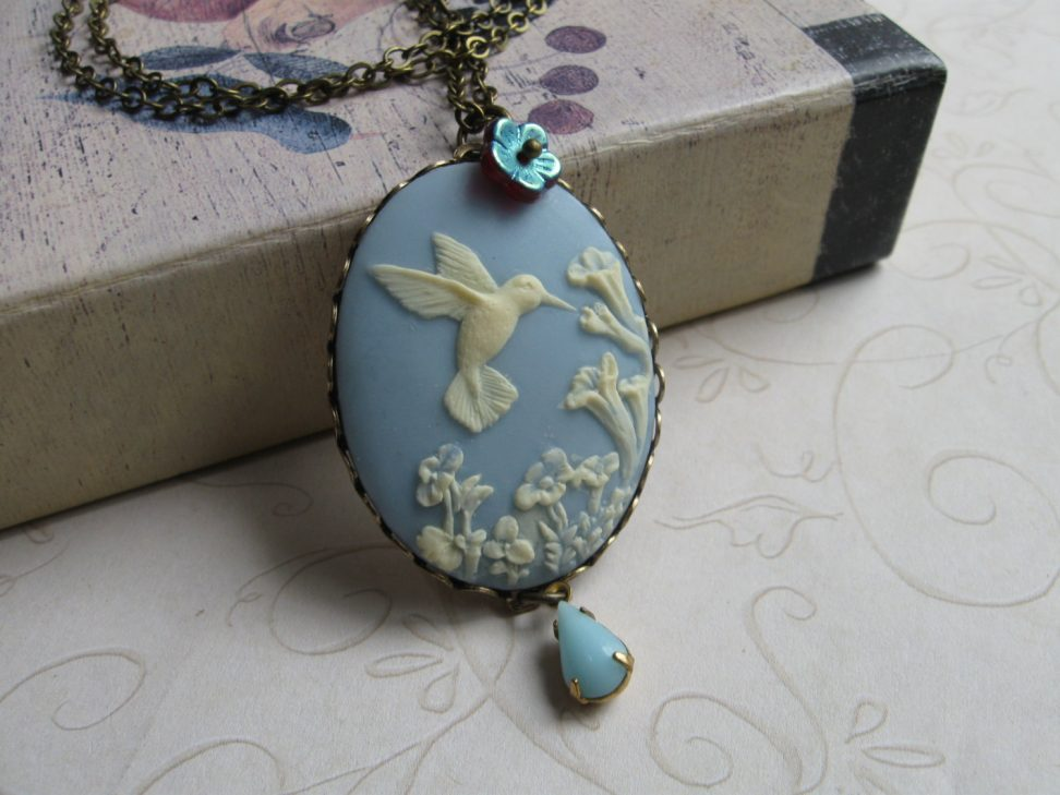 Hummingbird necklace, blue cameo, large pendant