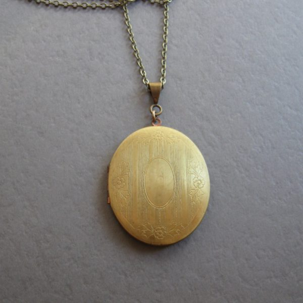 Large brass locket necklace, vintage locket, oval