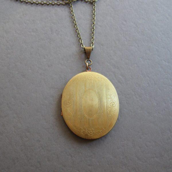 Large brass locket necklace, vintage locket, oval