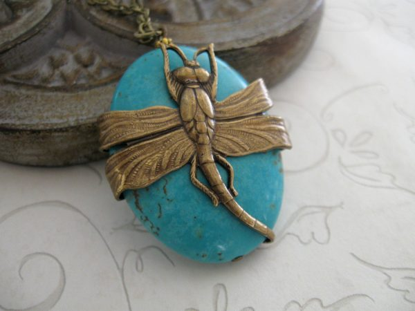 Large dragonfly necklace, tuquoise pendant, long chain