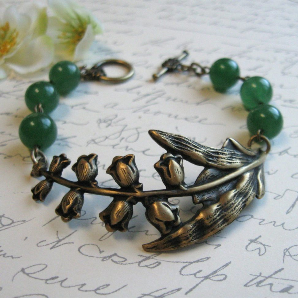 Lily of the valley bracelet, nature jewelry