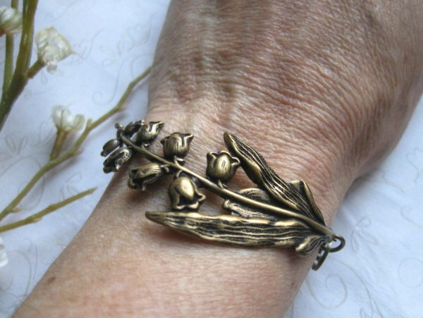 Lily of the valley bracelet, vintage inspired, nature jewelry, brass