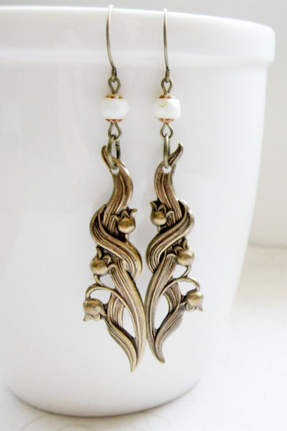 Lily of the valley earrings, long dangles, nature jewelry