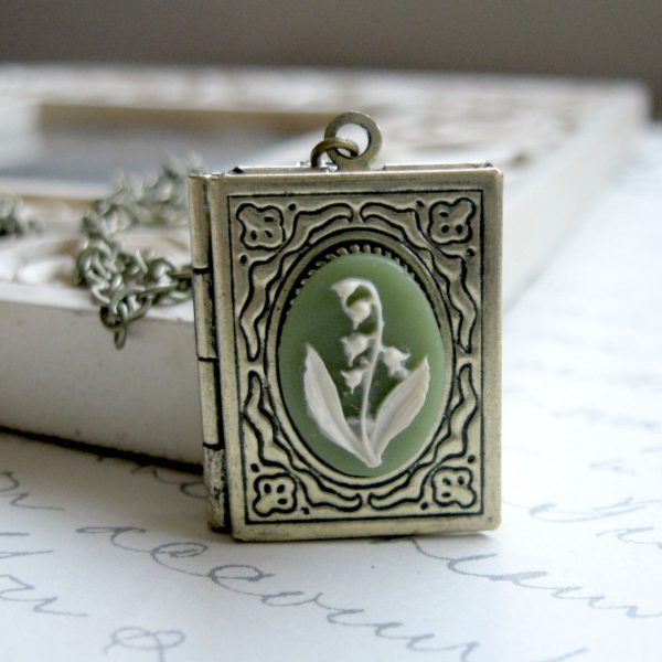 Lily of the valley necklace, book style locket, green cameo