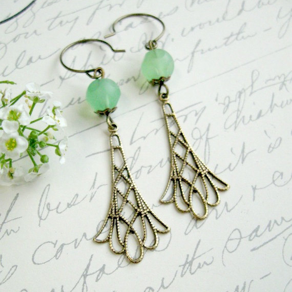 Long dangle earrings, filigree, mint green