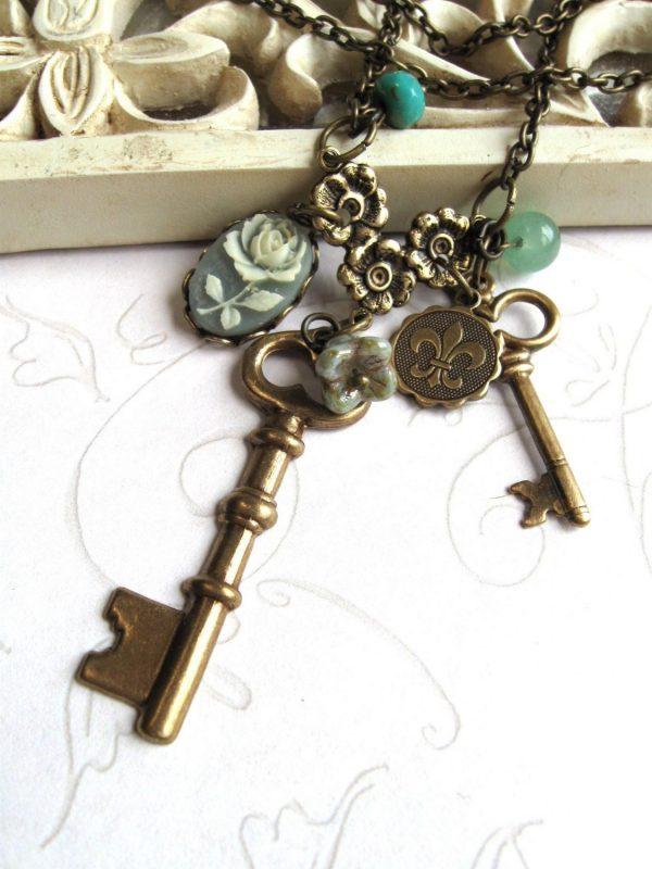 Long key necklace, vintage inspired, charm necklace, skeleton key