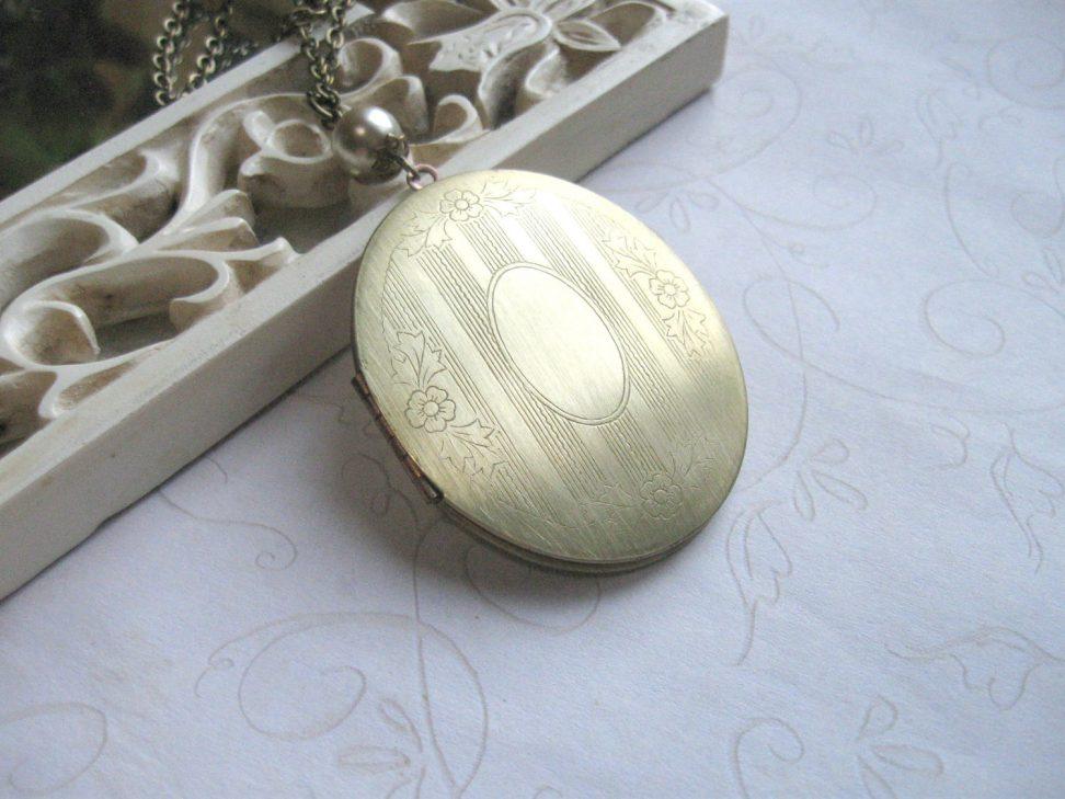 Long locket necklace, vintage brass locket, oval