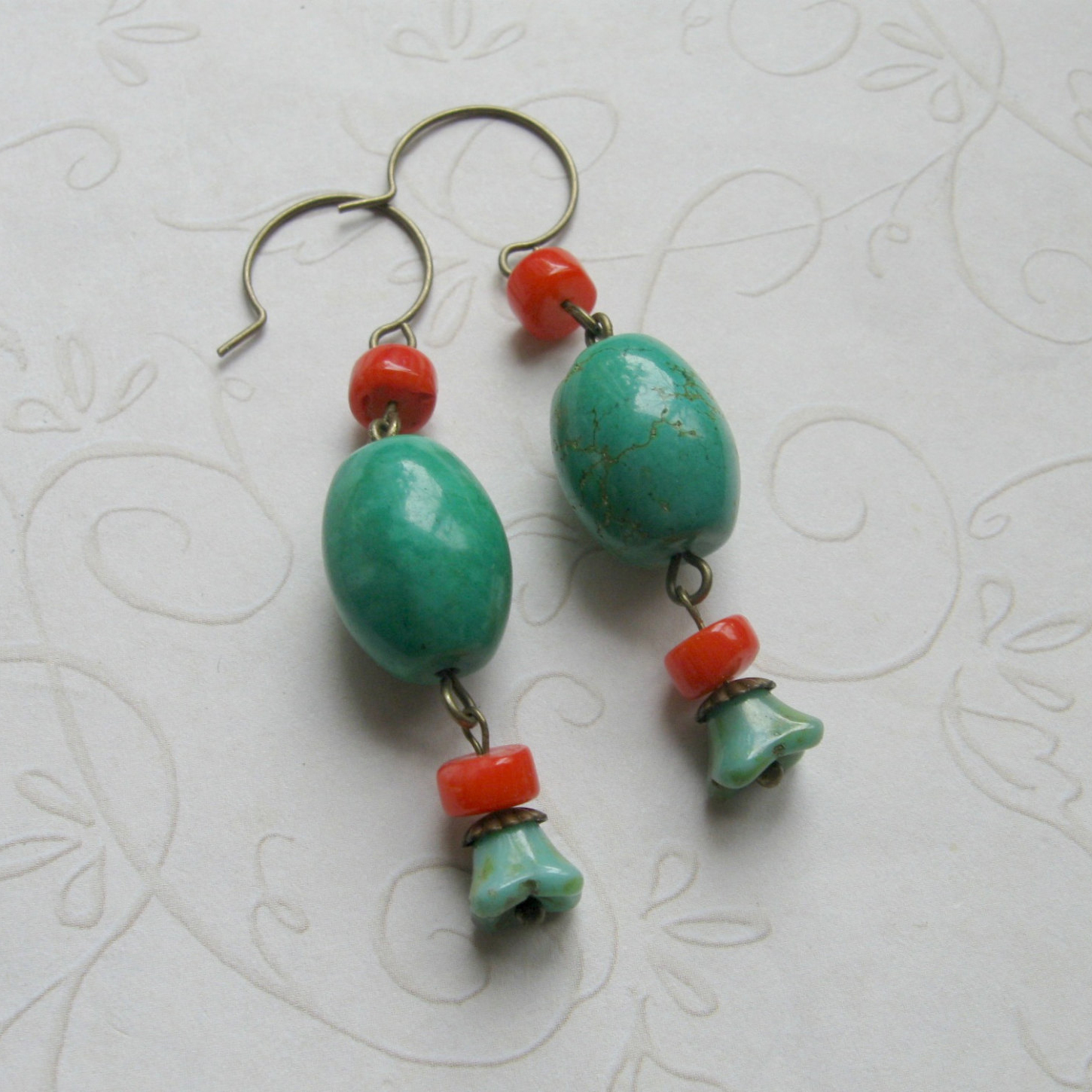 Long turquoise earrings, with coral beads